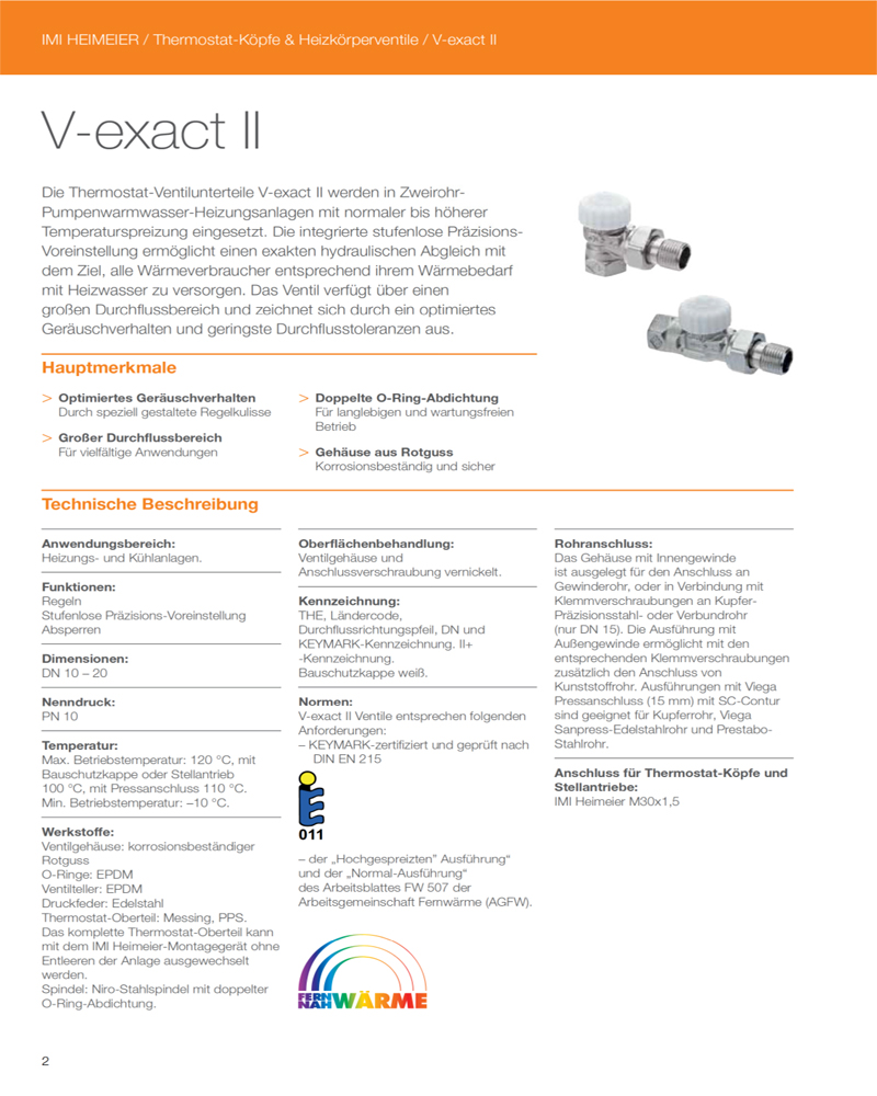 Heimeier V-Exact Technische Angaben